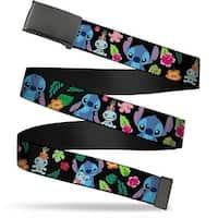 Blank Black Bo Buckle Stitch & Scrump Poses Tropical Flora2 Webbing Web Belt