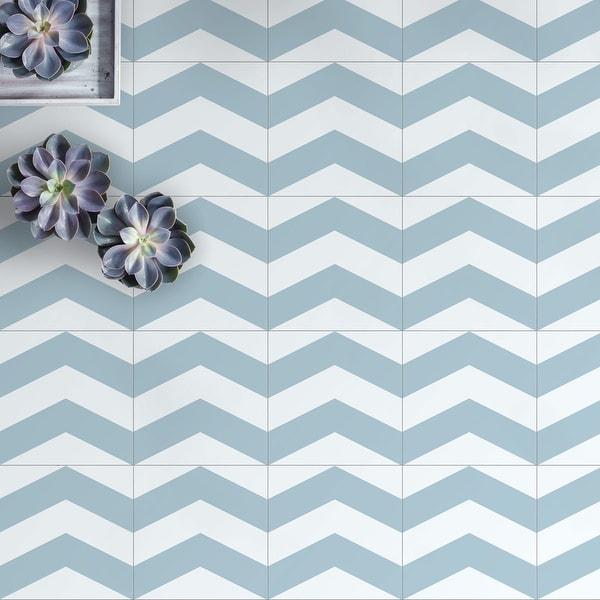 8x8 Graphic Blue Chevron Porcelain Floor and Wall Tile (3.88 Sq. Ft./ 9 pcs per box). Opens flyout.