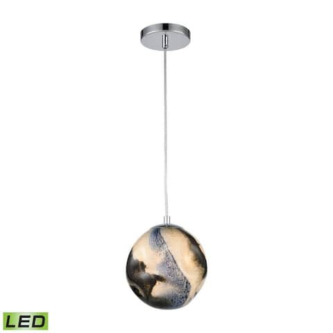 Hogarth Drift - 6 Inch 3W 1 LED Pendant Blue Planet/Chrome/Chrome Finish with Blue Planet Glass