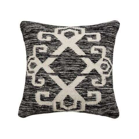 Black and Cream Textured Pillow Cover 20x20-inch Pillow Cover Only Distressed Black/White Colors