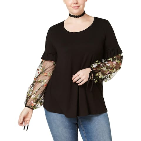 ING Womens Plus Newport Pullover Top Embroidered Long Sleeves