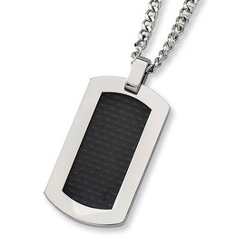 Chisel Titanium and Black Carbon Fiber Dogtag on 24 Inch Steel Curb Chain (2 mm) - 24 in