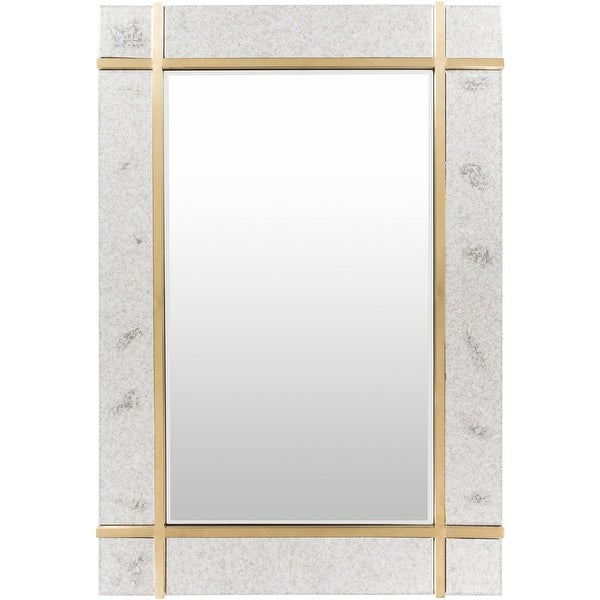 """Emiliano Gold and Antique Accents 48-inch Wall Mirror - 33"""" x 48"""". Opens flyout."""