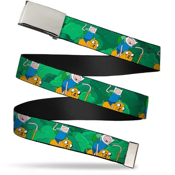 "Blank Chrome 1.0"" Buckle Finn & Jake In Woods1 Webbing Web Belt 1.0"" Wide - S"