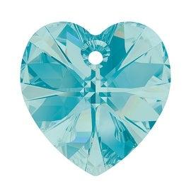 Swarovski Crystal, 6228 Heart Pendants 14mm, 2 Pieces, Light Turquoise