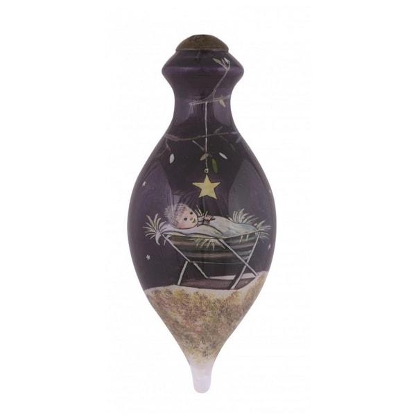 "Ne'Qwa ""First Christmas"" Hand-Painted Blown Glass Christmas Ornament #7151111 - black"