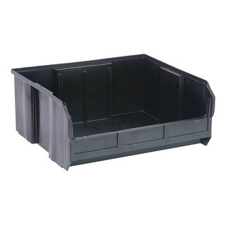 """Offex Plastic Storage Black Stack and Hang Bin 14-3/4"""" x 16-1/2"""" x 7"""" - 6 Pack"""