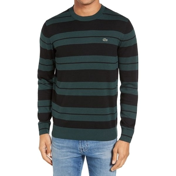Shop Lacoste New Green Black Mens Size Small S Crewneck