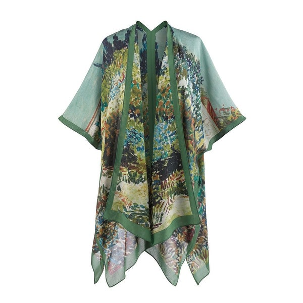 Women's Silk Kimono Fashion Jacket - Impressionist Garden Print - MEDIUM