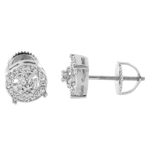 8mm Halo Design Earrings Silver Tone Lab Diamonds Iced Out Screw Back Studs