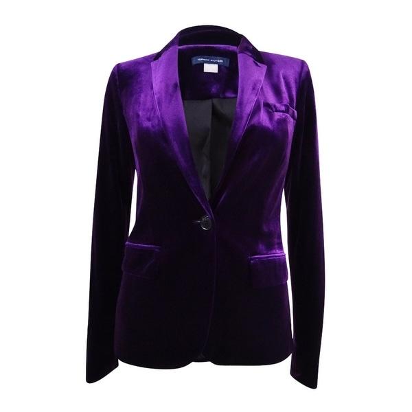 Shop Tommy Hilfiger Women S Velvet Blazer On Sale Free