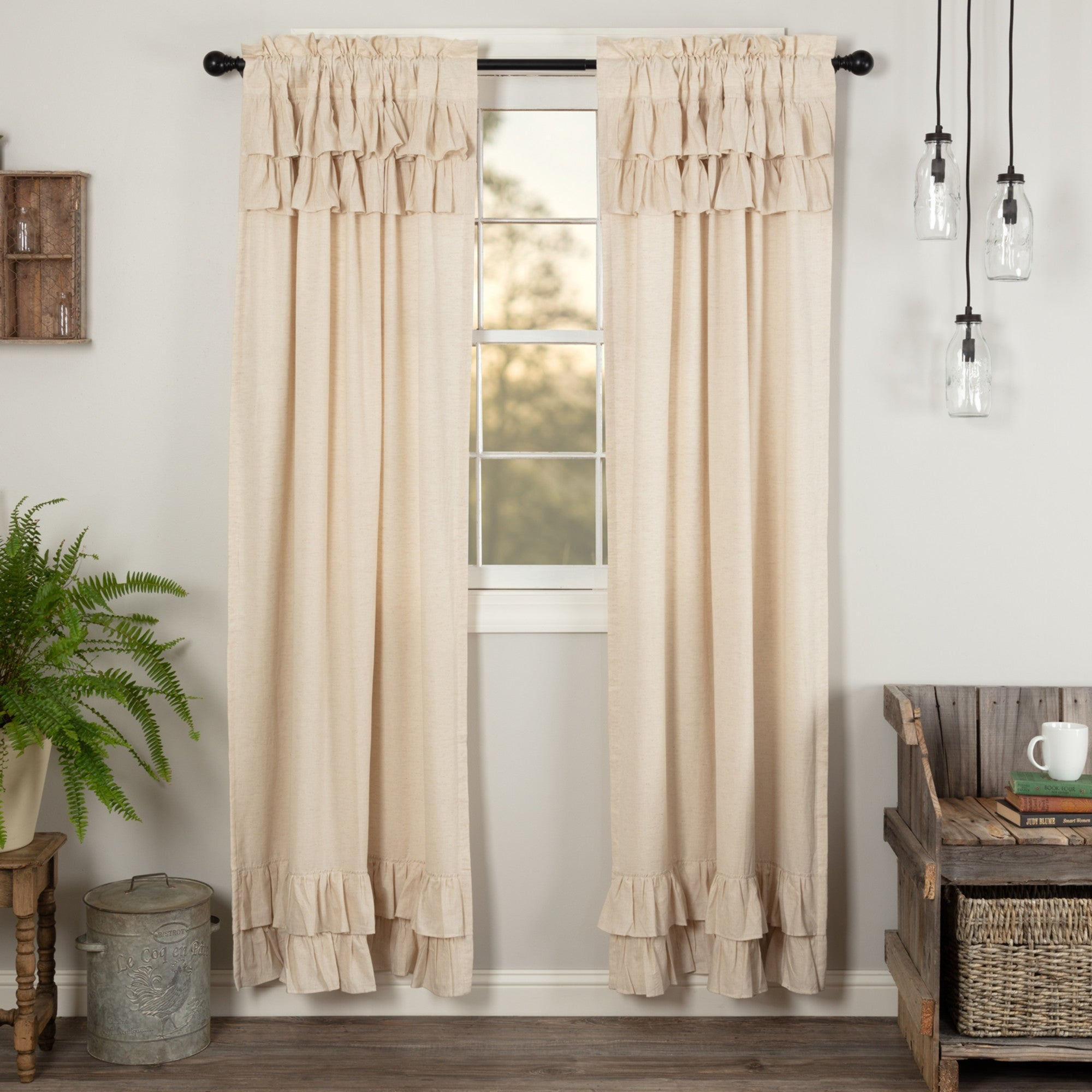 """VHC Farmhouse Curtains Set for Living Bed Room Simple Life Flax Panel Set 84x40/"""""""
