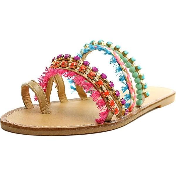 Madden Girl Krreed Women Open Toe Canvas Multi Color Slides Sandal