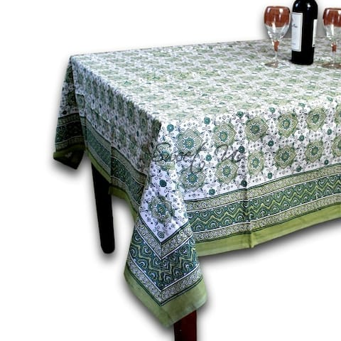 Cotton Geometric Floral Tablecloth Rectangle White Blue Green Peach Kitchen Dining Linen