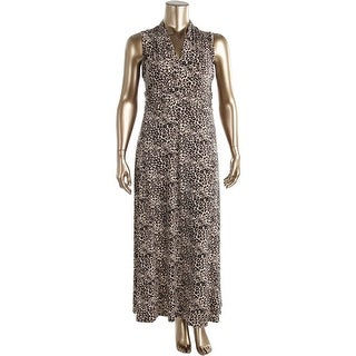 Vince Camuto Womens Plus V Neck Animal Print Maxi Dress
