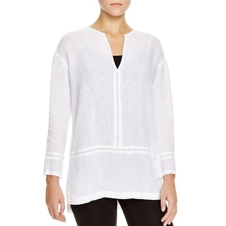 Pure DKNY Womens Tunic Top Linen Eyelet Detail