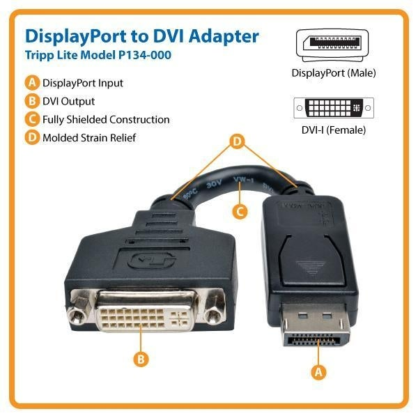 Tripp Lite P134-000 Displayport To Dvi Cable Adapter, Converter F/ Dp-M To Dvi-I-F