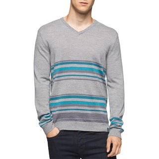 Calvin Klein Italian Merino Striped V-Neck Sweater Schio Grey Combo XX-Large