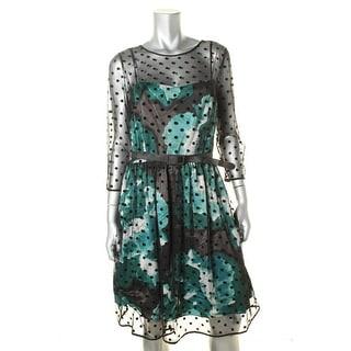 Eliza J Womens Polka Dot Illusion Party Dress