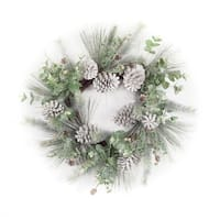 "Pack of 2 Pine and Eucalyptus Decorative Artificial Christmas Wreath 27"" - green"