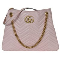 Gucci 453569 Pink Chevron Leather Marmont GG Shoulder Bag Purse Tote