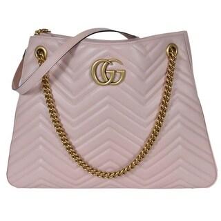 Gucci 453569 Pink Chevron Leather Marmont GG Shoulder Bag Purse Tote