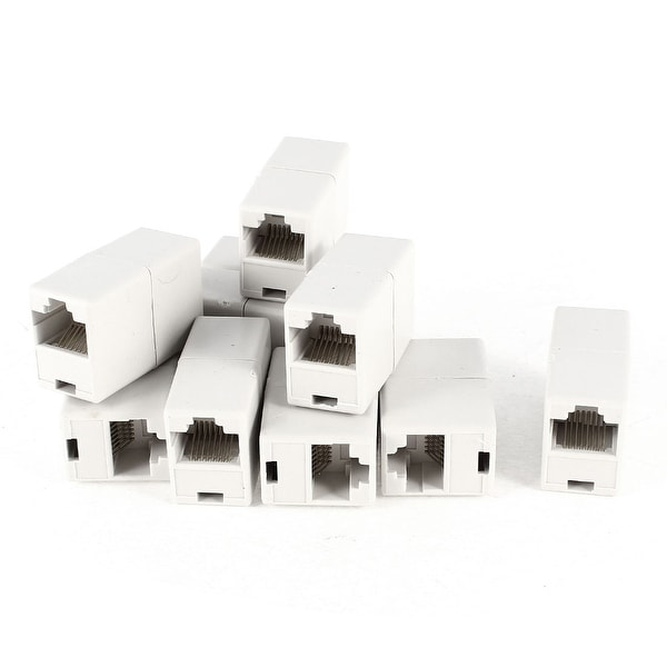 Unique Bargains Off White Double Connector RJ45 F/F Modular Network Coupler Adapter 10 Pcs