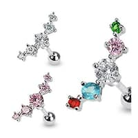 "Surgical Steel Journey Curve 5 Gem Tragus/Cartilage Piercing Stud - 16GA 1/4"" Long (Sold Ind.)"
