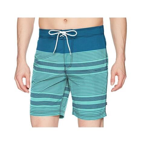 Nautica Mens Blue Size 2XL Engineer Stripe Colorblock Board Shorts