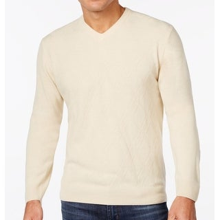 Weatherproof NEW White Ivory Mens Size 2XL Diamond Knit V-Neck Sweater