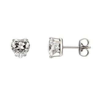 Ladies Solitaire Heart Shape Earrings Stainless Steel Women Clear Cubic Zirconia