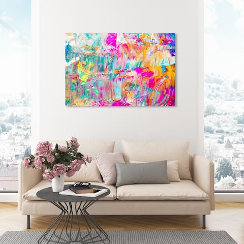 Oliver Gal 'Sunshine Days' Abstract Wall Art Canvas Print Paint - Pink, Blue
