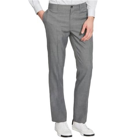 Kenneth Cole Mens Mini-Check Casual Trouser Pants, grey, 30W x 30L - 30W x 30L