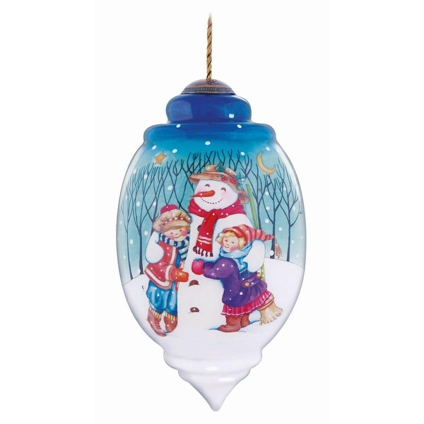 "Ne'Qwa ""Winter Friend"" Hand-Painted Blown Glass Christmas Ornament #7131167 - WHITE"