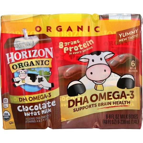 Horizon Organic Dairy Milk - Organic - 1 Percent - Lowfat - Box - Chocolate - plus DHA Omega-3 - 6/8 oz - case of 3