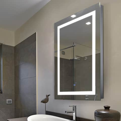 "HomCom Vertical 32"" LED Illuminated Bathroom Wall Mirror - Outline LEDs - Silver"