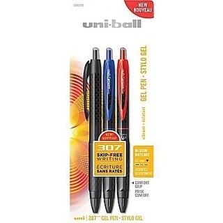 Uni-Ball Uni 307 Medium 0.7mm Black, Blue, and Red Ink Vibrant Gel Pens (3 Count)