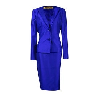 Kasper Women's Shantung Beaded Trim Skirt Suit