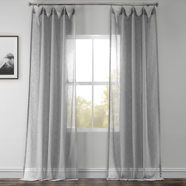 Exclusive Fabrics Nickel Faux Linen Sheer Curtain Panel. Opens flyout.