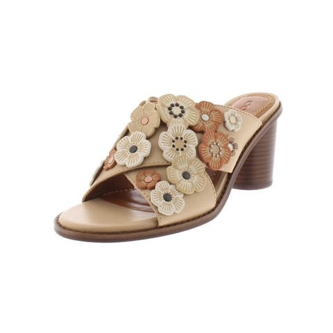 87d761819f29 Coach Womens Tea Rose Slide Sandals Leather Stacked Heel