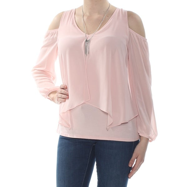 68d58901747 Shop BCX Womens Pink Cold Shoulder Necklace Long Sleeve V Neck Blouse Wear  To Work Top Size: M - Free Shipping On Orders Over $45 - Overstock -  28047859