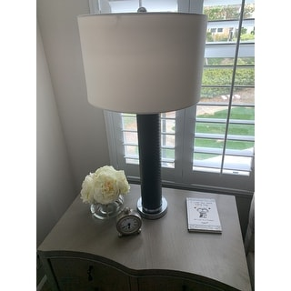 Safavieh Lighting 31.5-inch Ollie Faux Woven Leather Grey Table Lamp (Set of 2)