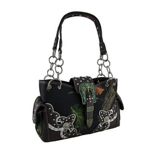 Forest Camouflage Western Trim Cross Buckle Conceal Carry Handbag