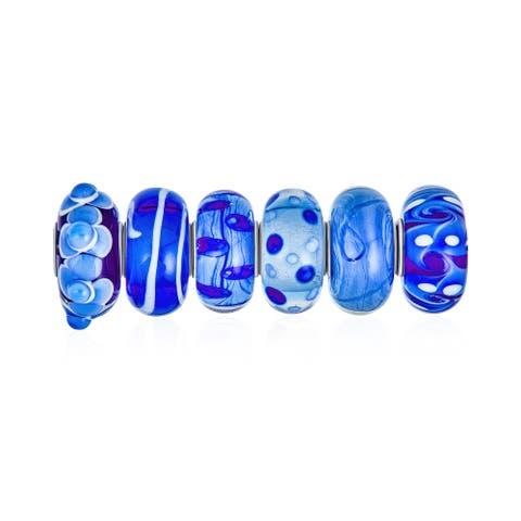 Mixed Set Shades Of Blue Murano Glass Swirl Lampwork Flower Charm Bead