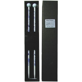 "Blue Flower Single Point Knitting Needles 9""-Size 10/6Mm"