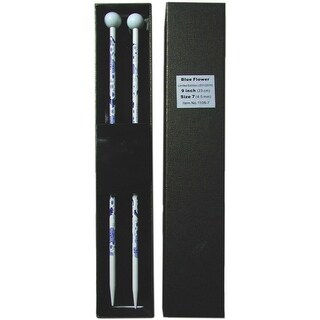 "Blue Flower Single Point Knitting Needles 9""-Size 9/5.5Mm"