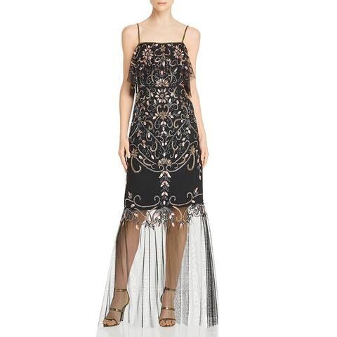 Aidan Mattox Womens Evening Dress Mesh Beaded - Black