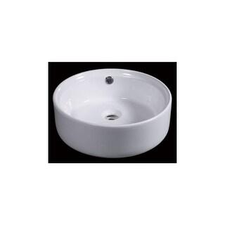 "Eago BA129 15-3/4"" Round Vessel Bathroom Sink - White"