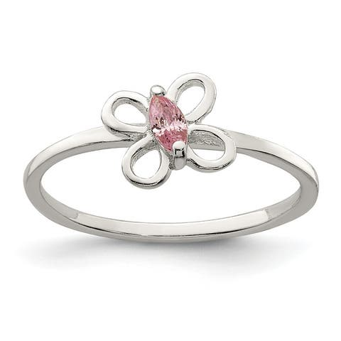 Sterling Silver Pink Cubic Zirconia Butterfly Kid's Ring by Versil
