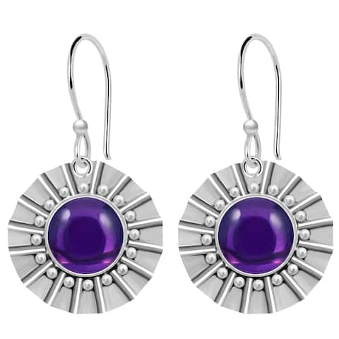 Amethyst, Chalcedony Sterling Silver Round Dangle Earrings by Orchid Jewelry
